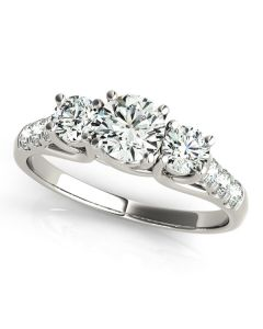 Engagement Ring - 14K White Gold - 3 Stone - Round - Style 82846