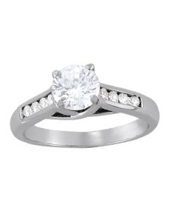 Engagement Ring - 14K White Gold - Single Row - Channel Set - Style 82869