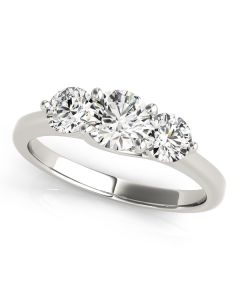 Engagement Ring - 14K White Gold - 3 Stone - Round - Style 82873