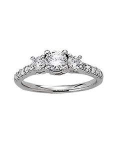 Engagement Ring - 14K White Gold - 3 Stone - Round - Style 82875