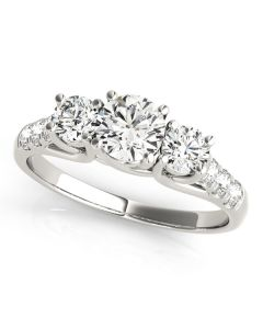 Engagement Ring - 14K White Gold - 3 Stone - Round - Style 82876