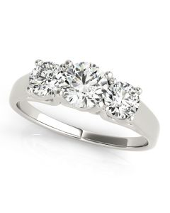 Engagement Ring - 14K White Gold - 3 Stone - Round - Style 82949