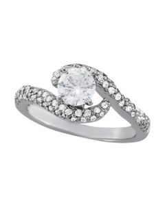 Engagement Ring - 14K White Gold - Bypass - Style 83092