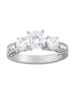 Engagement Ring - 14K White Gold - 3 Stone - Round - Style 83237