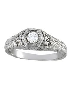 Engagement Ring - 14K White Gold - Antique - Style 83292