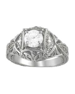 Engagement Ring - 14K White Gold - Antique - Style 83320