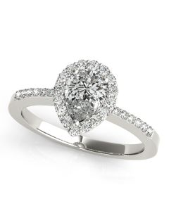Engagement Ring - 14K White Gold - Pear & Trillion - Color - Halo - Pear - Style 83498