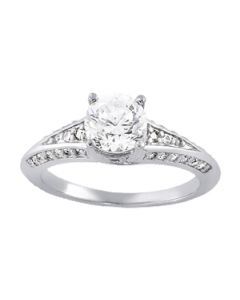 Engagement Ring - 14K White Gold - Single Row - Prong Set - Style 83520