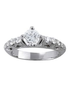 Engagement Ring - 14K White Gold - Antique - Style 83587