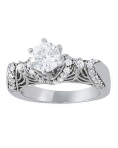 Engagement Ring - 14K White Gold - Antique - Style 83589