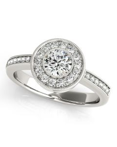 Engagement Ring - 14K White Gold - Halo - Round - Style 83616
