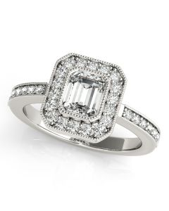 Engagement Ring - 14K White Gold - Color - Halo - Emerald - Cushion - Square - Square & Cushion - Style 83650