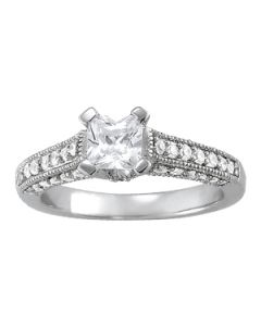 Engagement Ring - 14K White Gold - Antique - Style 83753
