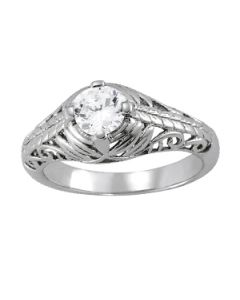 Engagement Ring - 14K White Gold - Antique - Style 83787