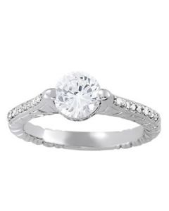 Engagement Ring - 14K White Gold - Antique - Style 83868