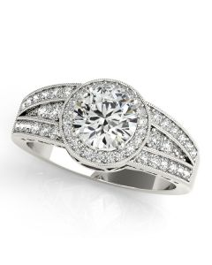 Engagement Ring - 14K White Gold - Halo - Round - Style 84059