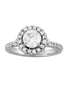 Engagement Ring - 14K White Gold - Halo - Round - Style 84081