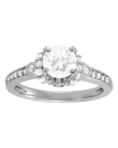 Engagement Ring - 14K White Gold - Cluster Sides - Cluster - Style 84269