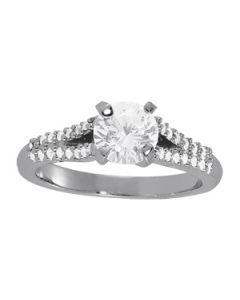 Engagement Ring - 14K White Gold - MultiRow - Style 84286