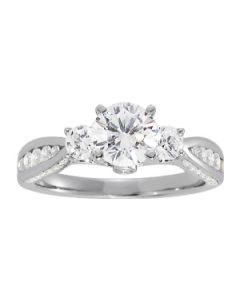 Engagement Ring - 14K White Gold - 3 Stone - Round - Style 84296