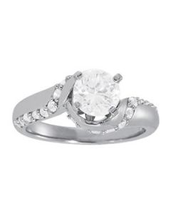 Engagement Ring - 14K White Gold - Bypass - Style 84310