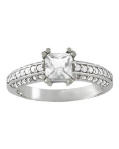 Engagement Ring - 14K White Gold - Pave - Style 84445
