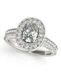 Engagement Ring - 14K White Gold - Color - Halo - Oval - Style 84512