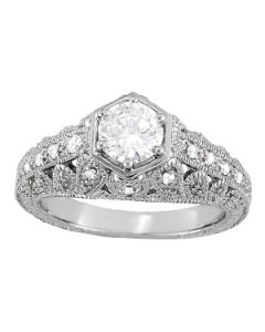 Engagement Ring - 14K White Gold - Antique - Style 84515