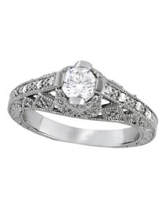 Engagement Ring - 14K White Gold - Antique - Style 84518