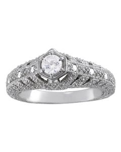 Engagement Ring - 14K White Gold - Antique - Style 84537