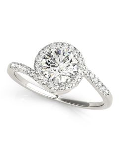 Engagement Ring - 14K White Gold - Bypass - Halo - Round - Style 84766