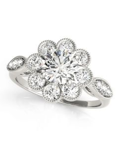 Engagement Ring - 14K White Gold - Antique - Halo - Round - Style 84841