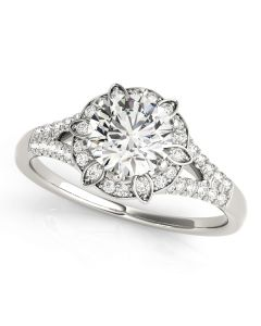 Engagement Ring - 14K White Gold - Antique - Halo - Round - Style 84882