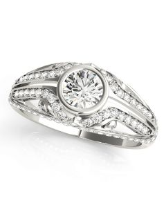 Engagement Ring - 14K White Gold - Antique - Style 84892