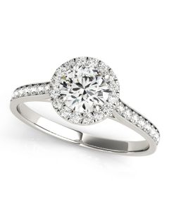 Engagement Ring - 14K White Gold - Halo - Round - Style 84902