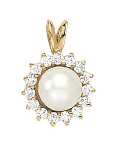 Pendants - 14K Yellow Gold - Color - Pearl - Pear - Style 30053