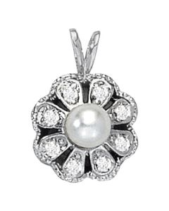 Pendants - 14K White Gold - Color - Pearl - Pear - Style 30611