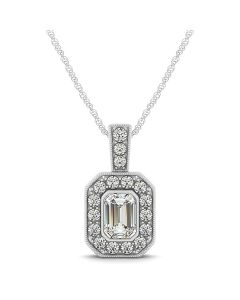 Pendants - 14K White Gold - Color - Emerald - Style 31256