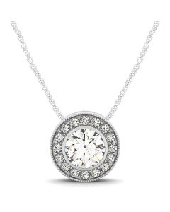 Pendants - 14K White Gold - Color - Halo - Round - Style 31371