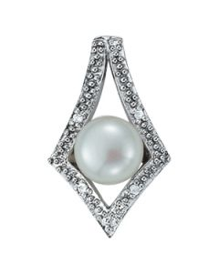 Pendants - 14K White Gold - Color - Pearl - Pear - Style 31646