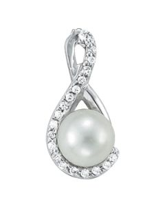 Pendants - 14K White Gold - Color - Pearl - Pear - Style 31884