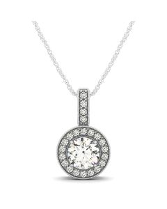 Pendants - 14K White Gold - Color - Halo - Round - Style 32336