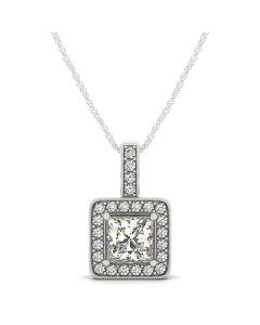 Pendants - 14K White Gold - Color - Halo - Square - Style 32337
