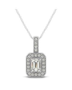 Pendants - 14K White Gold - Color - Halo - Emerald - Style 32338