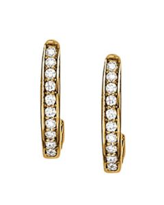 Earrings - 14K Yellow Gold - J-Hoops - Hoop Earring - Style 40037