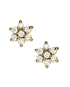 Earrings - 14K Yellow Gold - Cluster - Style 40057