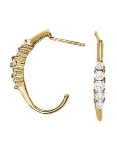 Earrings - 14K Yellow Gold - J-Hoops - Hoop Earring - Style 40127