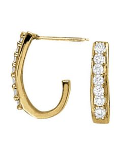 Earrings - 14K Yellow Gold - J-Hoops - Hoop Earring - Style 40133