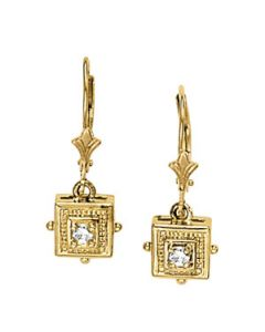 Earrings - 14K Yellow Gold - Single Stone - Style 40178