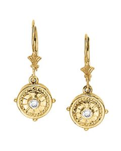 Earrings - 14K Yellow Gold - Single Stone - Style 40183